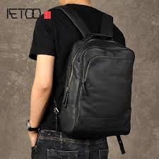<b>AETOO</b> Men fashion <b>trend</b> backpack shoulder bag male leather ...
