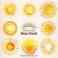 Free Vector | <b>Watercolor</b> suns pack