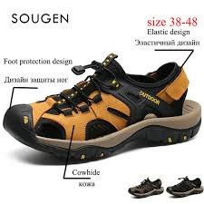 Mens Sandals <b>Genuine</b> Leather Male Shoes Adult Sneakers ...