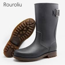 <b>Rouroliu</b> Autumn Non-slip Rain Boots Work Safety Footwear <b>Mid</b> ...