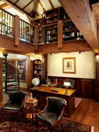 office with loft library by sitka log homes atherton library traditional home office