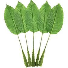 5Pcs Tropical <b>Leaves</b>,<b>Fake Artificial Banana leaf</b> for Home Kitchen ...
