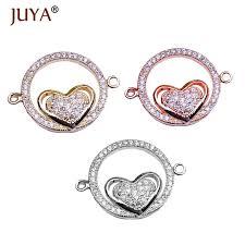 5 pieces <b>wholesale copper micro pave</b> CZ rhinestone love heart ...