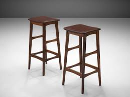 Pair of <b>Bar Stools</b> in Rosewood and <b>Faux</b> Leather by Johannes ...