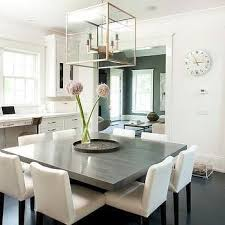 dining room tables chairs square: gray square dining table with white dining chairs