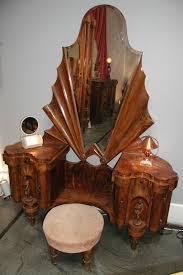 italian romanesque deco burled walnut bakelite and brass vanity with stool art deco reproduction furniture