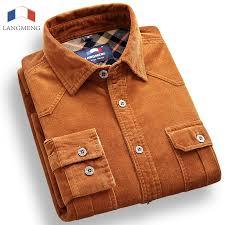 Langmeng 100% Cotton Vintage <b>Corduroy</b> dress <b>Shirt</b> Men Slim Fit ...