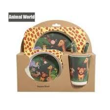 <b>5pcs</b>/<b>sets</b> Natural Bamboo <b>Baby Tableware</b> Set (green hippo) | 2019 ...
