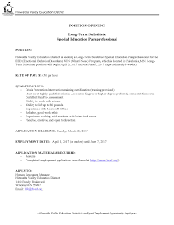 long term substitute paraprofessional  additional information