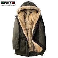VSD 2018 New Wolf Fur Men Thick Winter <b>Jacket</b> Long Coats ...