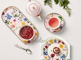 Фарфоровая <b>тарелка десертная</b> 19 см розовый/декор серия ...