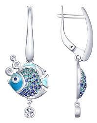 <b>SOKOLOV Серьги</b> из <b>серебра</b> «<b>Рыбки</b>» 94022810 — купить по ...