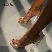 Silentsea Summer Women Crystal 11cm High Heels Mules Slides ...