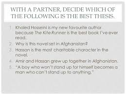requirements and expectations the kite runner literary essay