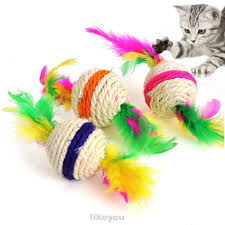 Random Color Pet Accessories <b>Playing</b> Feather <b>DIY</b> Sisal Ball ...