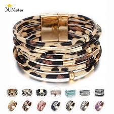 2019 <b>Boho</b> Leopard Leather <b>Wrap Bracelet</b> For Women Multilayer ...