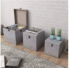 SKB Family <b>Storage Box Concrete 3</b> pcs Square Gray MDF Lid Home