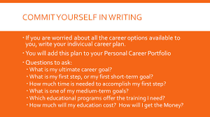 developing a career plan chapter what you will learn how commit yourself in writing 61600 if you are worried about all the career options available to
