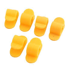 Plastic Cord <b>Wire Cable Clips Organizers</b> Yellow 6 PCS w Self ...
