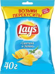 """<b>Чипсы</b> Lay's """"<b>Сметана и</b> зелень"""" <b>картофельные</b>, 40 г"""