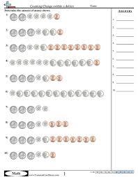 Money WorksheetsCounting Change (within a dollar) worksheet ...