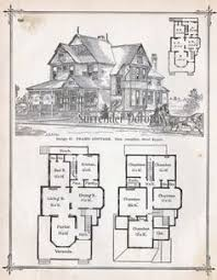 Gothic Frame Dwelling Vintage House Plans Antique Victorian    Frame Cottage House Plans Antique Victorian Architecture Print To Frame Country Home