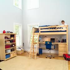 simple wooden toddler size loft bed with desk and ladder bed desk set