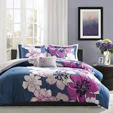 Amazon.com: <b>4 Piece</b> Girls Blue Purple Grey Floral Theme ...