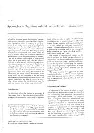 approaches to organizational culture and ethics pdf approaches to organizational culture and ethics pdf available