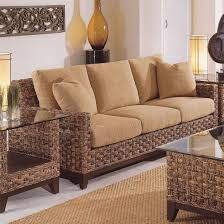 living room mattress:  cane work design with use brown colour rattan sofa design with mattress and cushions cream colour unique and creative concept by livingroom furnitur