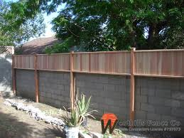 Small Picture Tongue and gvoove redwood fence on top of wall Garden