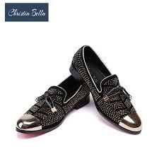 Christia Bella Gold <b>Crystal Handmade Men Loafers</b> Fashion ...