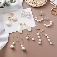 <b>Pearl</b> Shell Metal Long Tassel Drop Dangle Earrings Women <b>Simple</b> ...