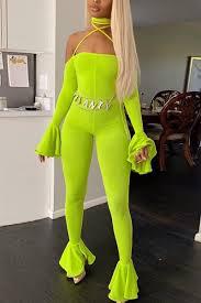 <b>Fashion Sexy Off</b> Shoulder Fungus Sleeve Fluorescent Green ...