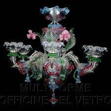 Lampadario Murano Rosa : Lampadario cau rezzonico decorazioni floreali policrome luci