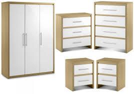 emily bedroom set light oak: stockholm  piece white amp light oak finish bedroom set