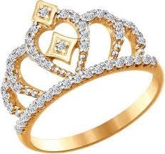 Золотое <b>кольцо корона</b> SOKOLOV 016628_s с <b>фианитами</b> ...