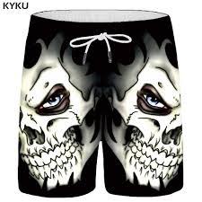 <b>KYKU Skull Shorts Men</b> Black Space Cargo Shorts Gothic Hawaii ...