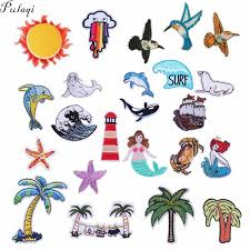 <b>Pulaqi Cartoon</b> Beach Animal Patches Embroidery Iron On Patch ...