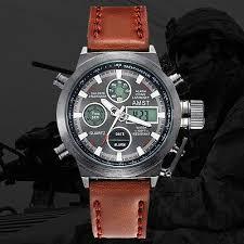 AMST <b>Military Army</b> Men's <b>Sport Army</b> Leather LED Quartz Wrist ...