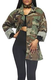 Recious Womens Long Sleeve Lapel <b>Military</b> Casual <b>Camouflage</b> ...