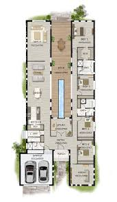 ideas about Narrow House Plans on Pinterest   Small House    Contemporary Home Designs  Modern Narrow Block House Designs Floor Plan Four Bedrooms  Unique Sense