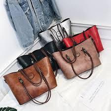 <b>2Pcs Sets Woman</b> Handbag Large Capacity Leather <b>Bags</b> for ...