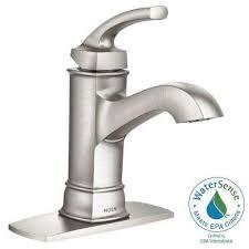 satin nickel bathroom faucets: hensley single hole  handle bathroom faucet featuring microban protection in spot resist brushed nickel
