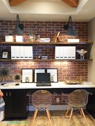 office ideas pinterest. gorgeous desk area with exposed brick open shelving industrial sconces and wood beams via office ideas pinterest