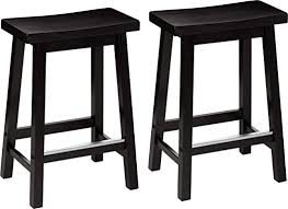 AmazonBasics Classic <b>Solid</b> Wood Saddle-Seat <b>Counter Stool</b>