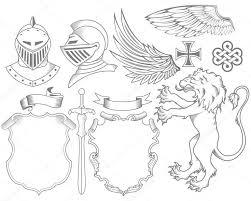 <b>Набор рыцаря</b> геральдические элементы — стоковая иллюстрация