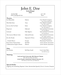 theatre resume example resume resume template for actors with training and special skills for film and sample musical theatre resume