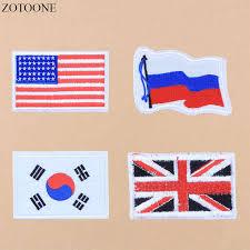 <b>ZOTOONE</b> Korea <b>America</b> Russia Flag Large Applique Embroidery ...