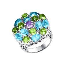 Яркое <b>кольцо с аметистом</b>, топазом и <b>хризолитами</b> SOKOLOV ...